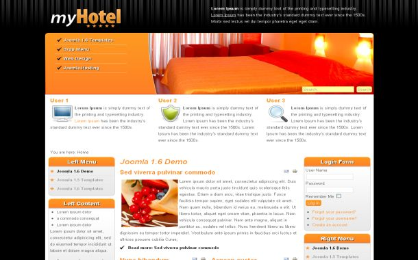 Free Orange Hotels Jquery Joomla Theme Template