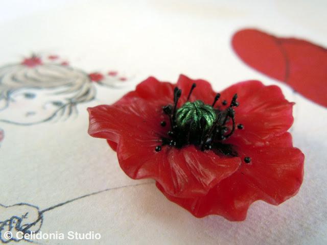 papavero modellato in pasta sintetica