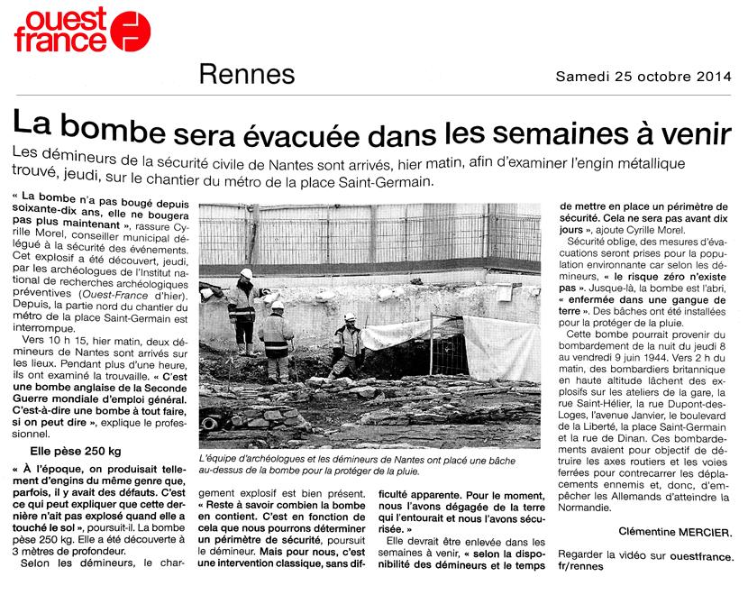 Ouest-France - Edition du 25 octobre 2014 - Pages Rennes