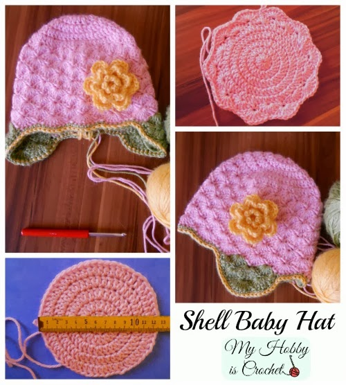 Crochet Baby Hat Shell Pattern : My Hobby Is Crochet: Shell Stitch Earflap Hat with Flower ...