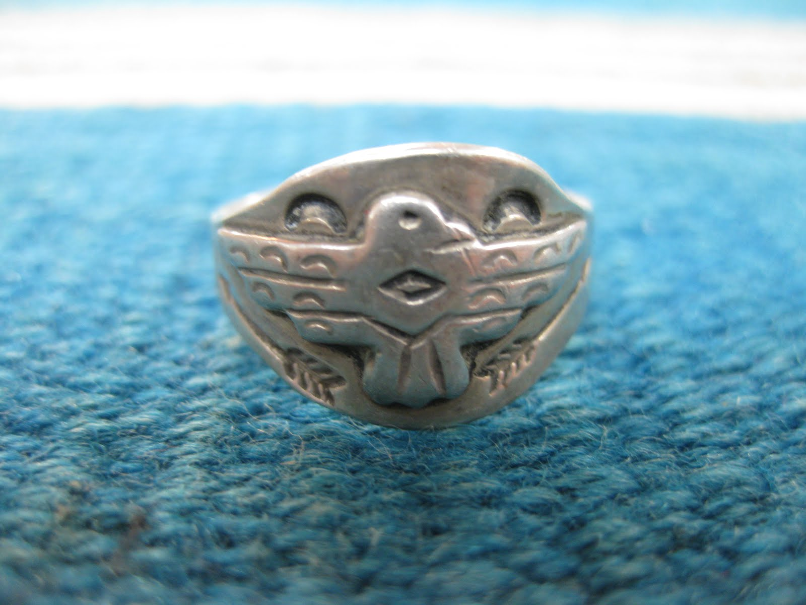 30's~40's NAVAJO                 「THUNDERBIRD×ARROW etc.」                COIN SILVER RING