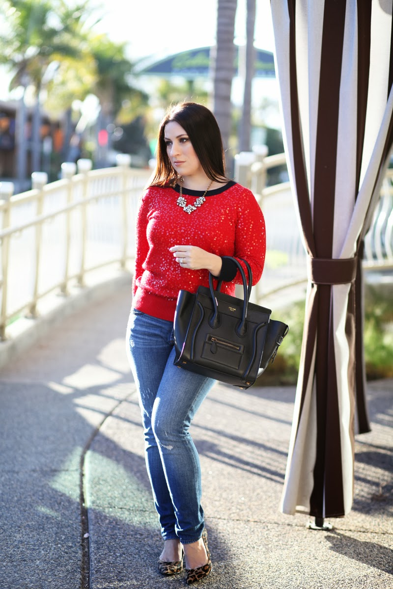 jcrew-midrise-toothpick-jeans-celine-luggage-tote-red-sequin-sweater
