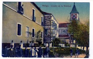 Postal antigua del Cuartel-Convento de La Trinidad, Málaga