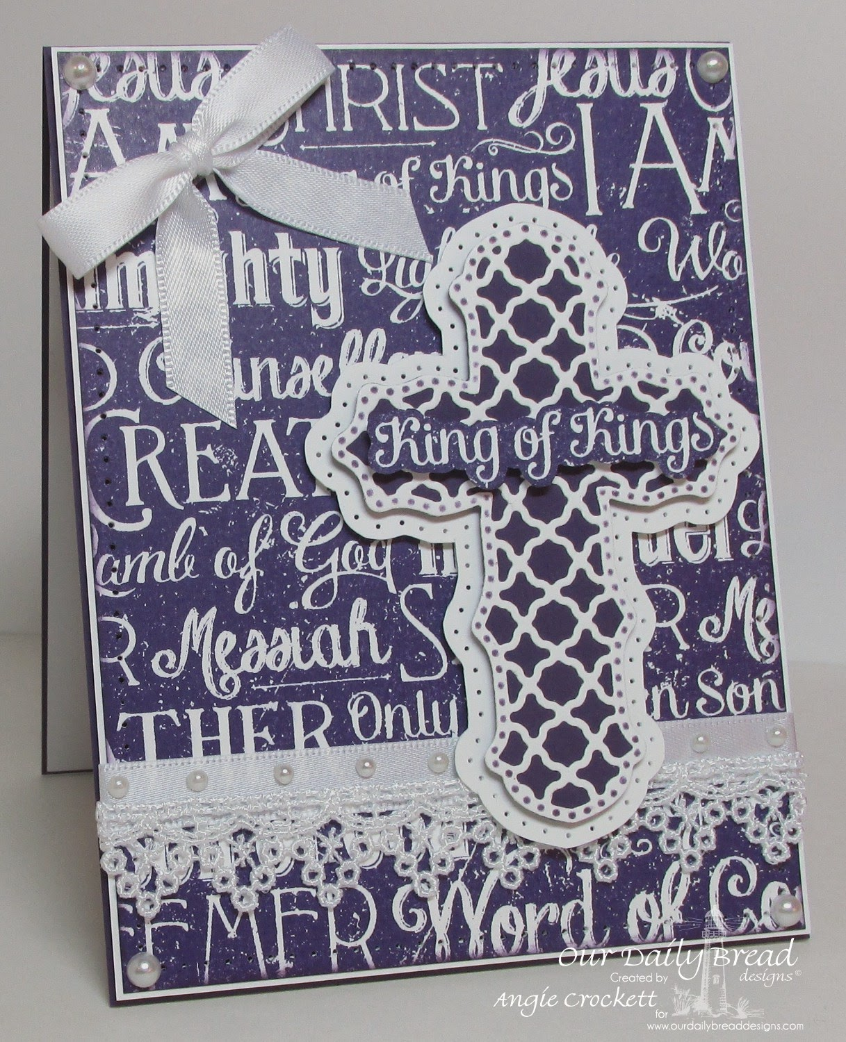 ODBD Chalkboard Word Collage Background, ODBD Custom Ornamental Crosses Die Set, Card Designer Angie Crockett