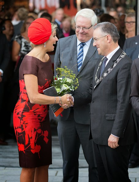 Queen Maxima of The Netherlands and Rotterdam mayor Ahmed Abutaleb attend the opening of the new Markthal on 01.10.2014 in Rotterdam, Netherlands.