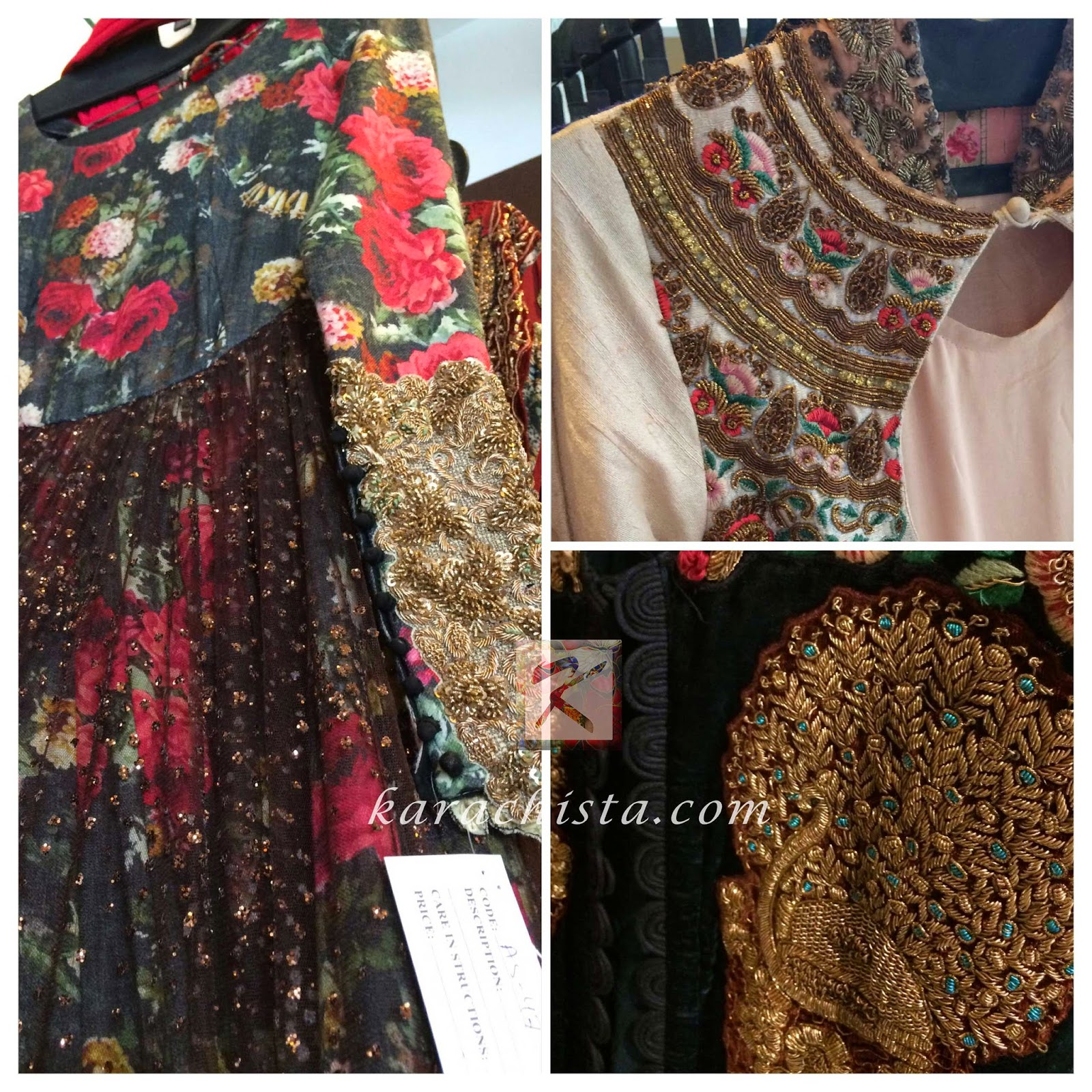 details from outfits by Indian designer Anshu Jain at Ensemble Karachi