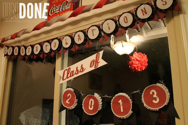 {The UNDONE Blog} Red and Black Graduation Decorations, Congratulations Banner