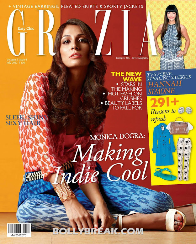Monica Dogra Grazia Cover -  Monica Dogra Grazia India Bikini, Navel Magazine scans – July 2012