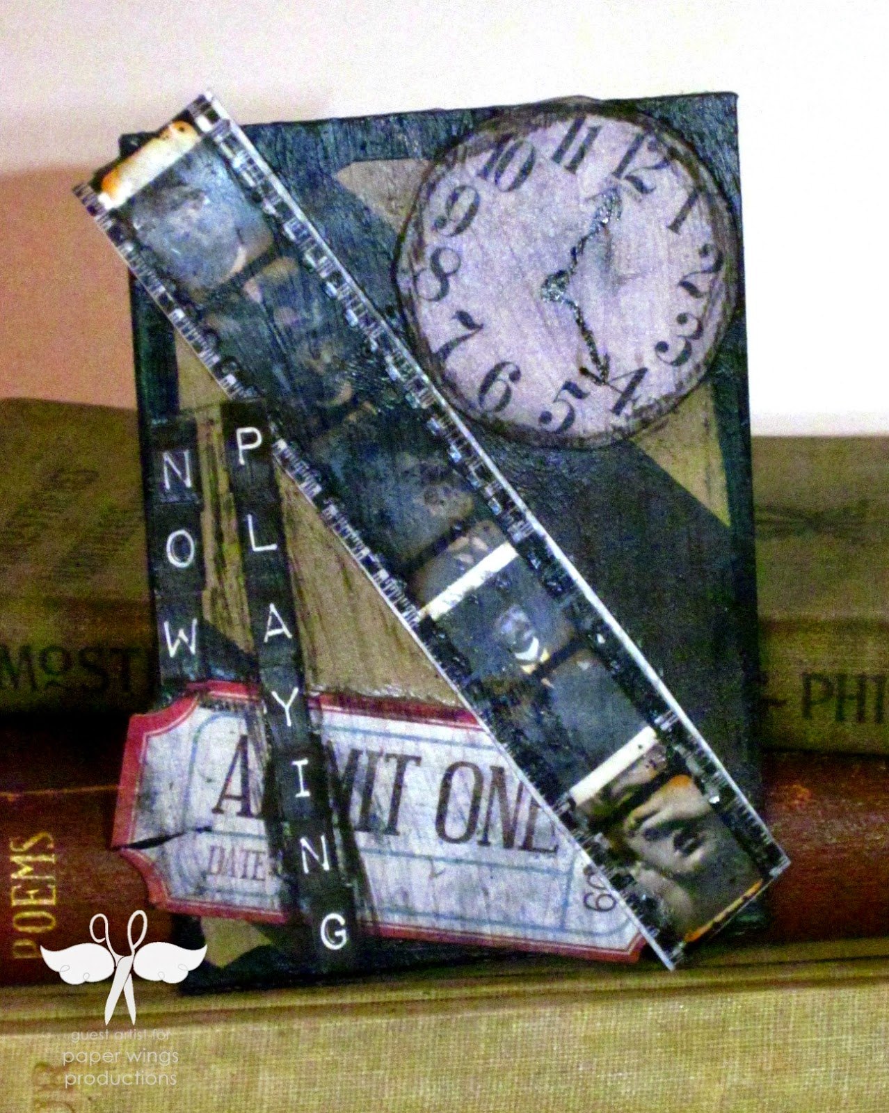Mixed Media Monday, ATC Cards Paper Wings Productions created by www.serendipitystudiobycw.blogspot.com