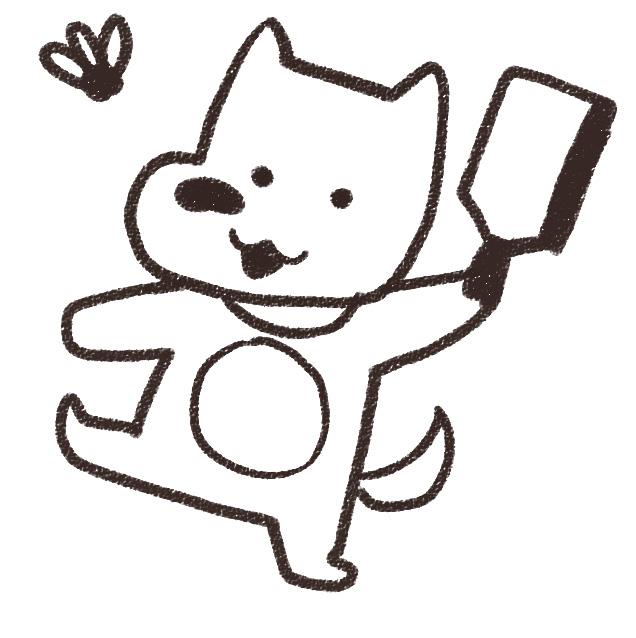 羽つきをする犬のイラスト(戌年)白黒線画