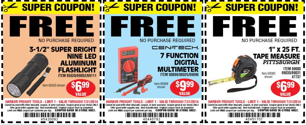 Coupons and freebies 3 free items at harbor freight tools free led