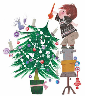 little boy decorating a christmas tree illustration byFiep Westendorp