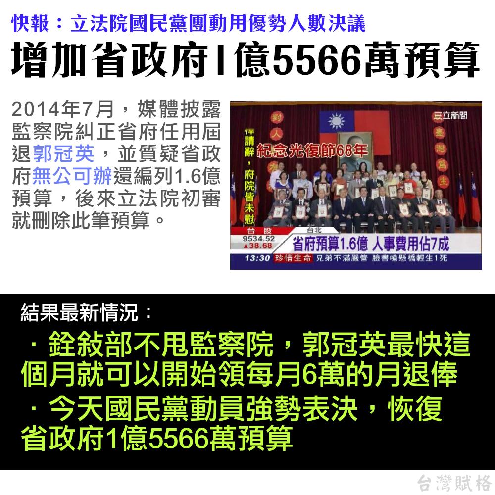 立法院國民黨團動用優勢人數,決議增加省政府1億5566萬預算