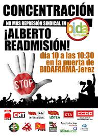Concentración por la readmisión de Alberto en Bidafarma, viernes 10 de mayo a las 10:30 en Bidafarm