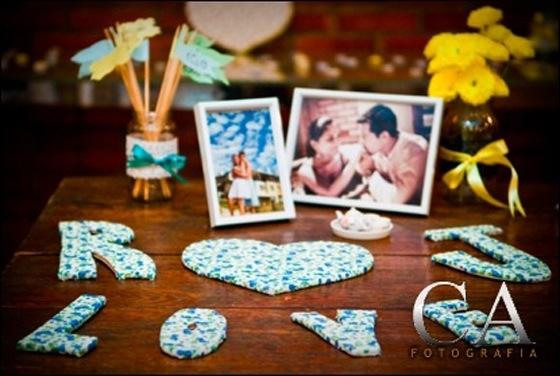 decoracao de noivado azul e amarelo simples : decoracao de noivado azul e amarelo simples:Vai Sair Casório: Chá de Panelas