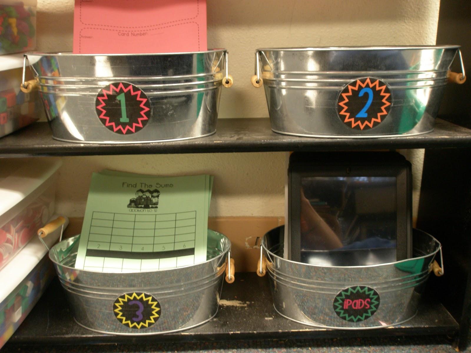 Elementary Organization: i heart math tubs.