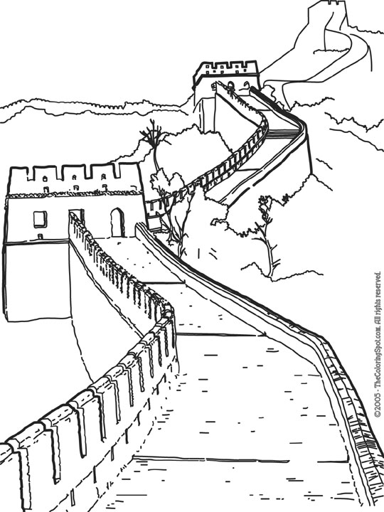 Free great wall china coloring pages for Mural de chine