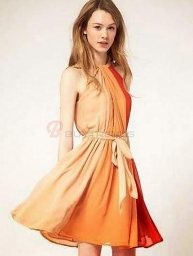 Vestido degrade naranja en Buytrends