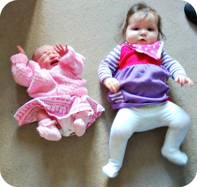 Baby girls newborn and 8 months