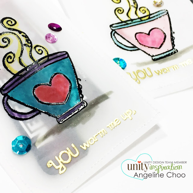 ScrappyScrappy: Summer Coffee Lovers Blog Hop with Unity Stamp - vellum gift pockets #scrappyscrappy #unitystamp #stamp