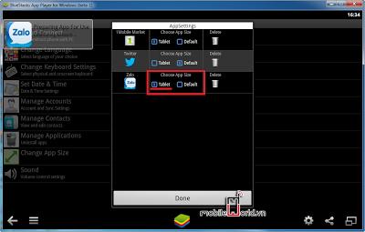 cửa sổ Zalo Apps