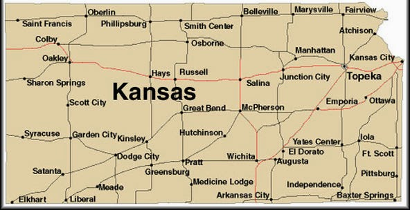 Printable state of Kansas map for download.