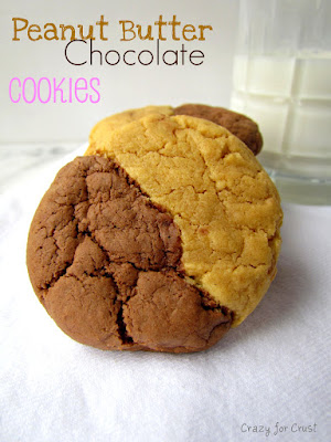 peanut butter chocolate cookies with half and half dough