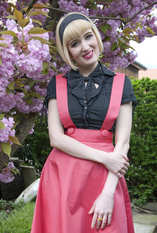 pink, pinafore, vintage, retro
