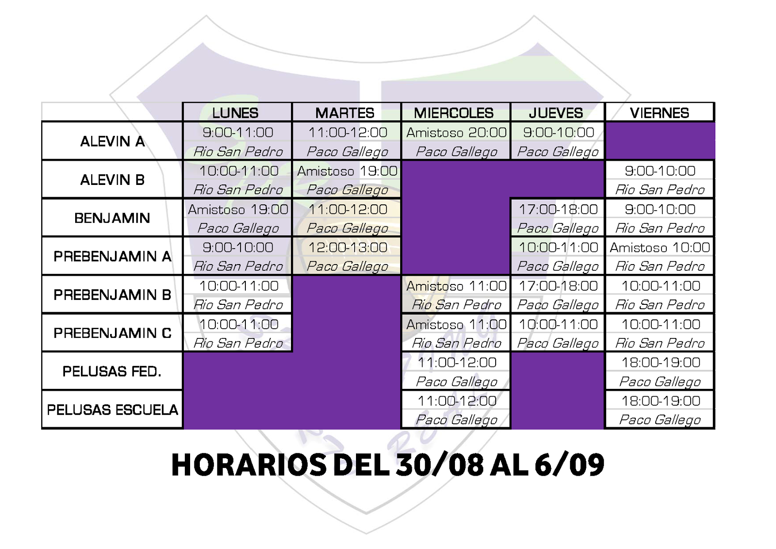 Sporting De Puerto Real Horarios Semana Del 30 De Agosto