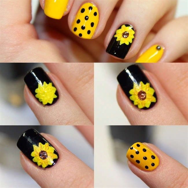 Sun Flower Nail Art Design Step By Step Entertainment News Photos