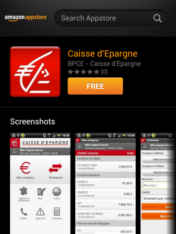 Caisse d'Epargne sur l'Amazon App-Shop