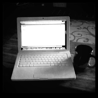 macbook, coffee