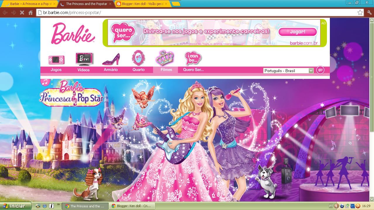 Site Da Barbie Do Filme A Princesa E Pop Star Brasil