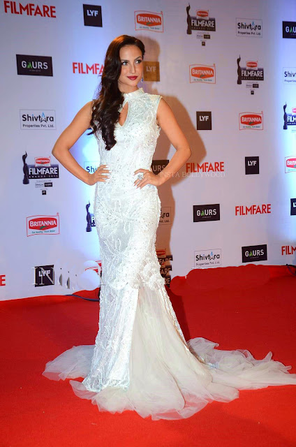 Elli Avram Went all White on the Red Carpet with her Parul J Maurya Designer Gown