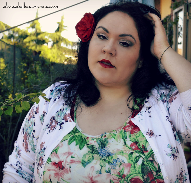 outfit plus size I love flowers