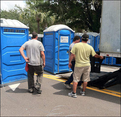 All 700 Of The Portable Sanitation Of Tampa Porta Pots Had To Be Delivered  And Positioned In One Day.