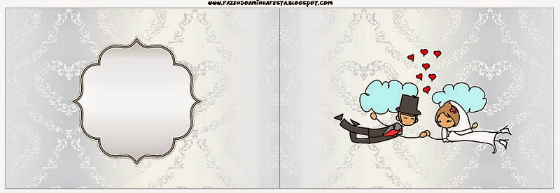 Free Printable Candy Bar Labels for a Provencal in Wedding Couple Flying.