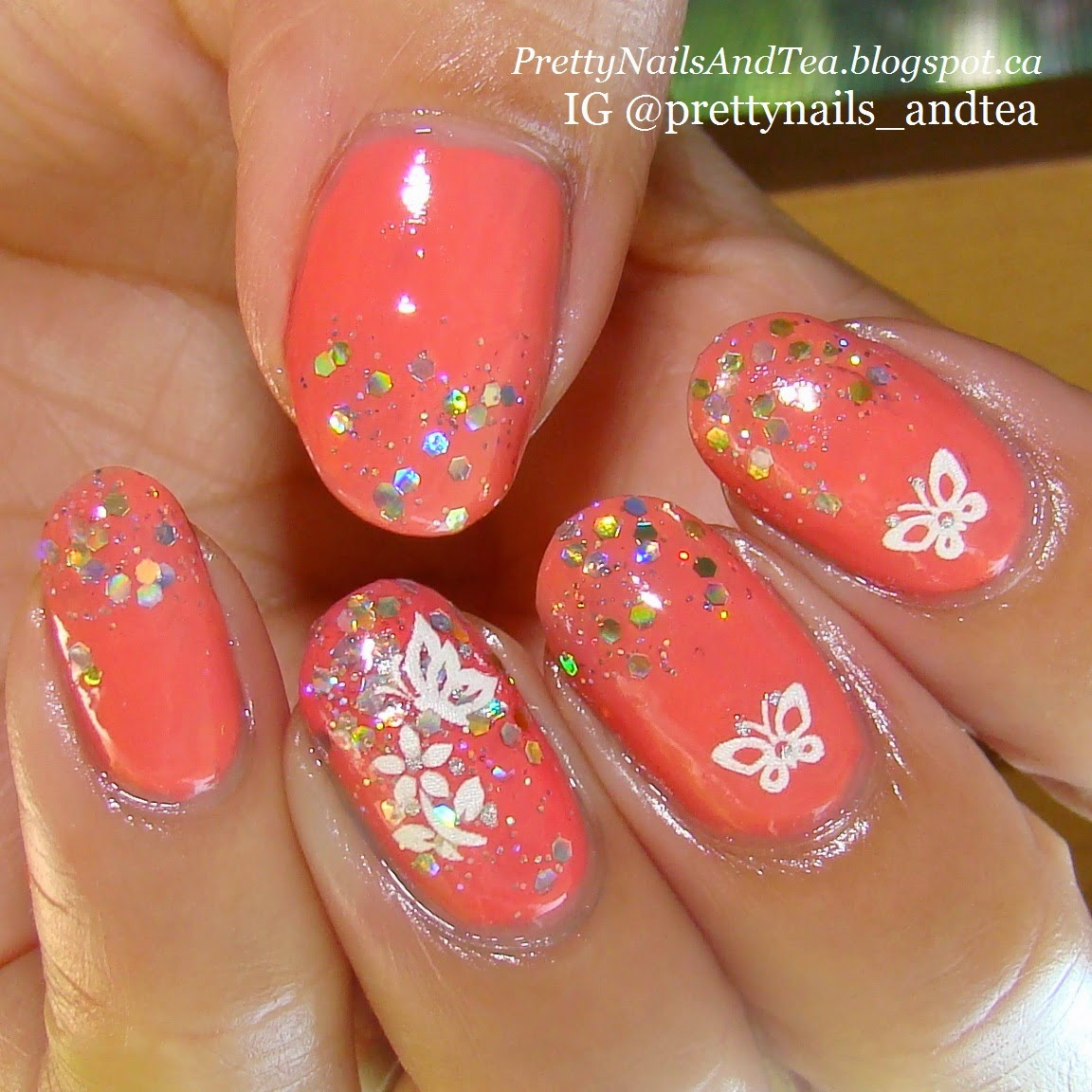 corals | Pretty Nails And Tea | OMD2 | Easy NailArt