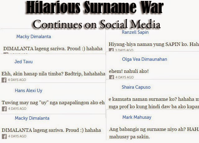 Hilarious Surname War Continues on Social Media