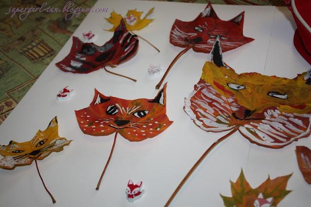 рисование на листьях