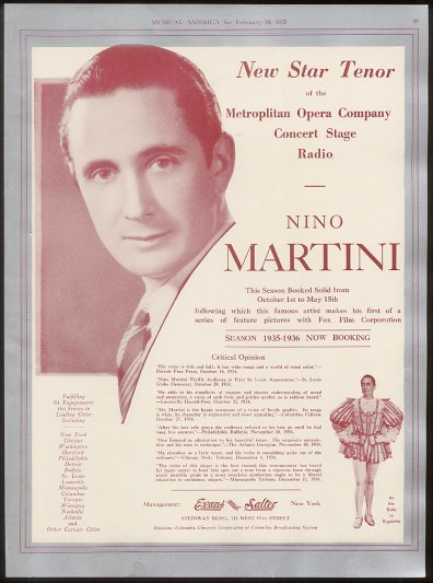 GREAT ITALIAN TENOR NINO MARTINI (1905 – 1976) CD
