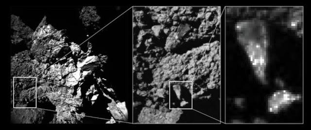 Variaciones de brillo en la superficie del cometa