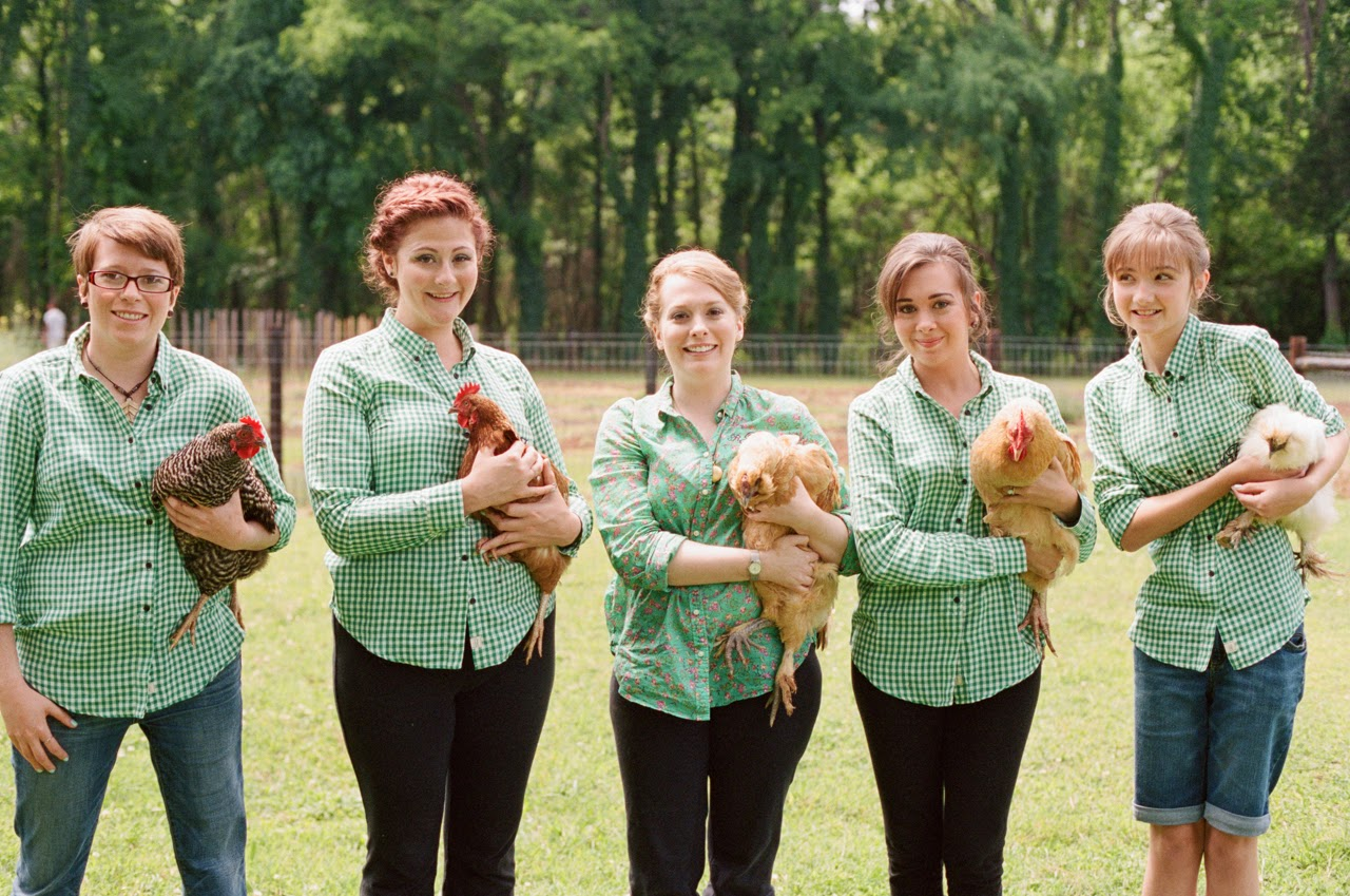 bridesmaids with chickens 1818 farms mooresville alabama