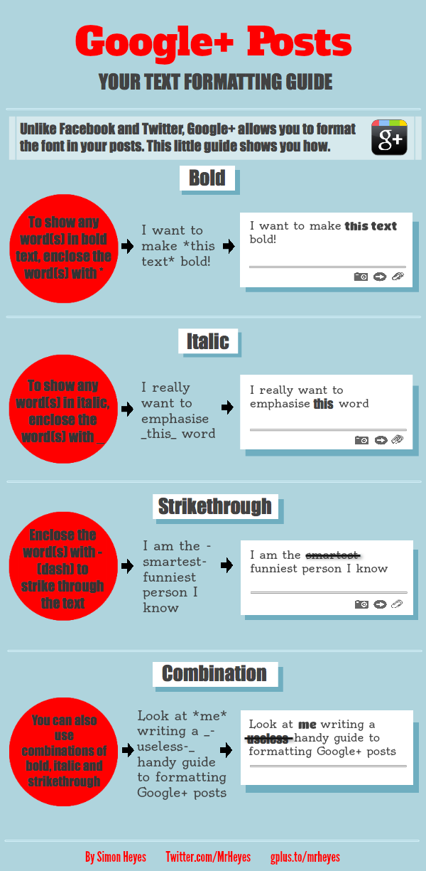 Google+ Formatting Posts Infographic