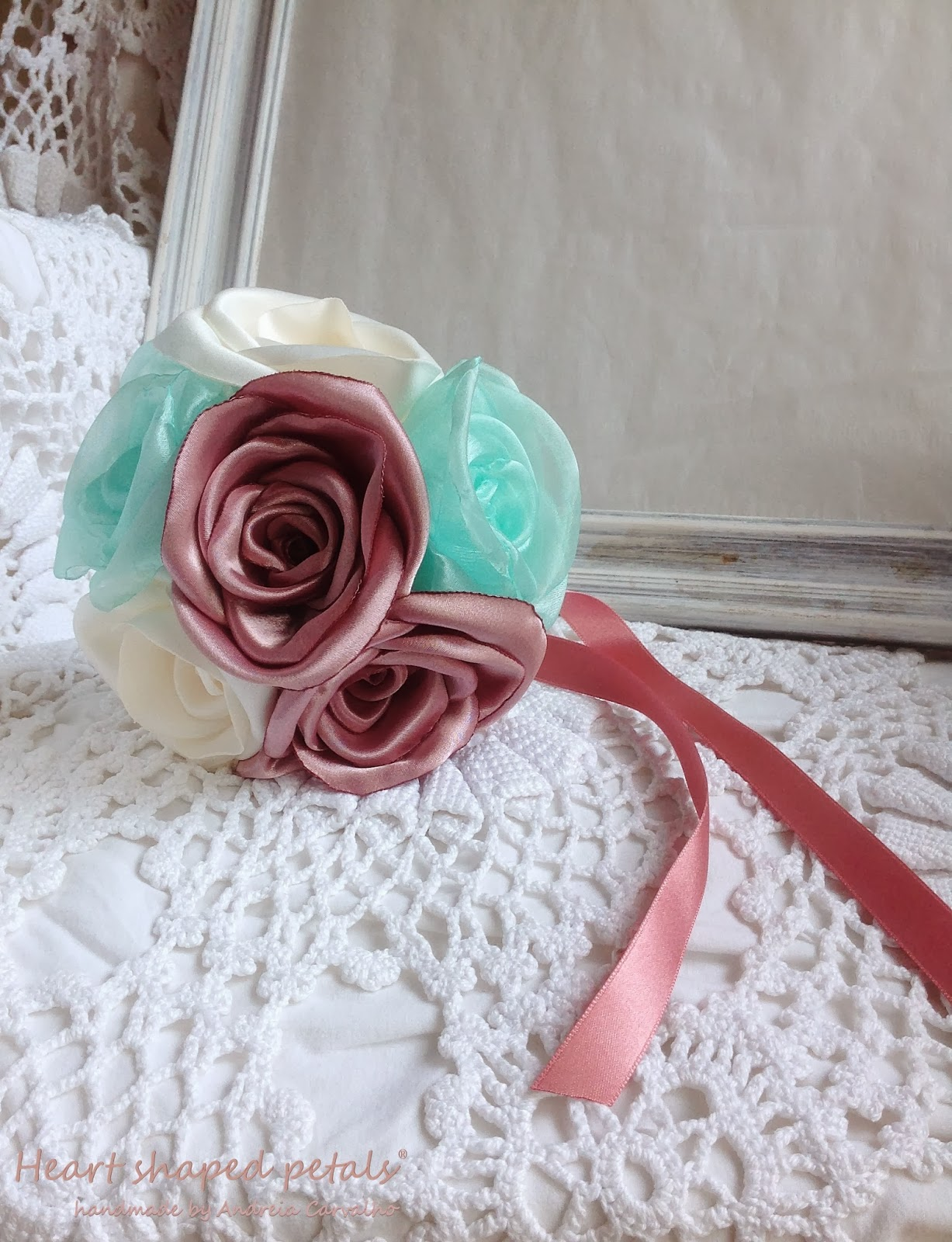 Flower girl bouquet fabric roses