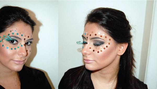 Bárbara Urias - maquiagem para carnaval - cílios postiços e paeté