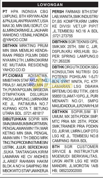 Rangkuman Lowongan Baris Koran Harian Radar Lampung, Sabtu 29 November 2014.