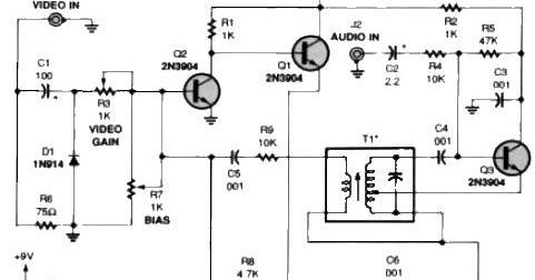 tv audio video transmitter circuit diagram the circuit rh easycircuit012 blogspot com circuit diagram videocon tv schematic diagram video