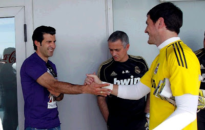 Figo along with Mourinho and Casillas at Valdebebas sport city