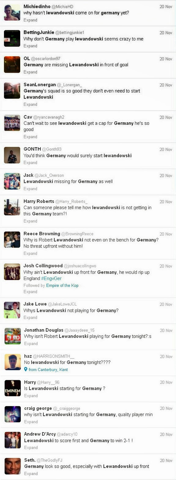 Stupid fans complaining on Twitter about Lewandowski not playing for Germany vs England